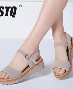 STQ 2018 Women sandals summer suede leather high thick heel wedge sandals Platform sandals ladies ankle strap flat sandals 848