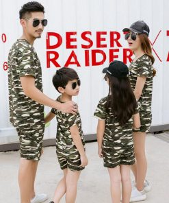 Family Clothing Camouflage Print Shirt Shorts Family Matching Outfits Father Son Baby Boy mother daughter Clothes Set 1