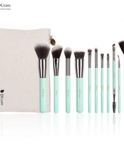 DUcare 11PCS Makeup Brushes Set Professional Light Green Handle Make Up Brush Powder Foundation Angled Eyeliner Brush with Bag 1