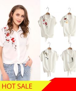 2018 Top Summer Women Casual Tops Short Sleeve Embroidery White Top Blouses Shirts Sexy Kimono Loose Beach Shirt Blusas Feminina 1