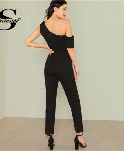 Sheinside Black Asymmetrical Elegant Jumpsuit Office Ladies Workwear High Waist Belted Jumpsuit Summer Women Casual Jumpsuit 1