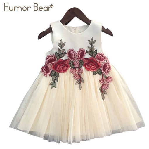 Humor Bear Girls Dresses 2018 Summer Style Girls Clothes Sleeveless Embroidery Design for Child kids Princess Dress 5