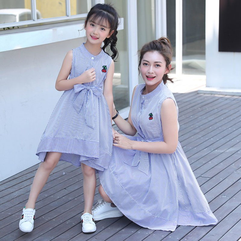 moother and daughter dress cotton mama girl 2018 summer Cute bow family look mother and daughter clothes dress mom daughter