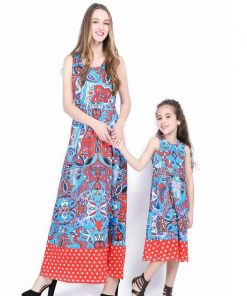 mother daughter dresses Vintage style mother and dauther matching clothes mommy and me family matching outfits summer printing 1