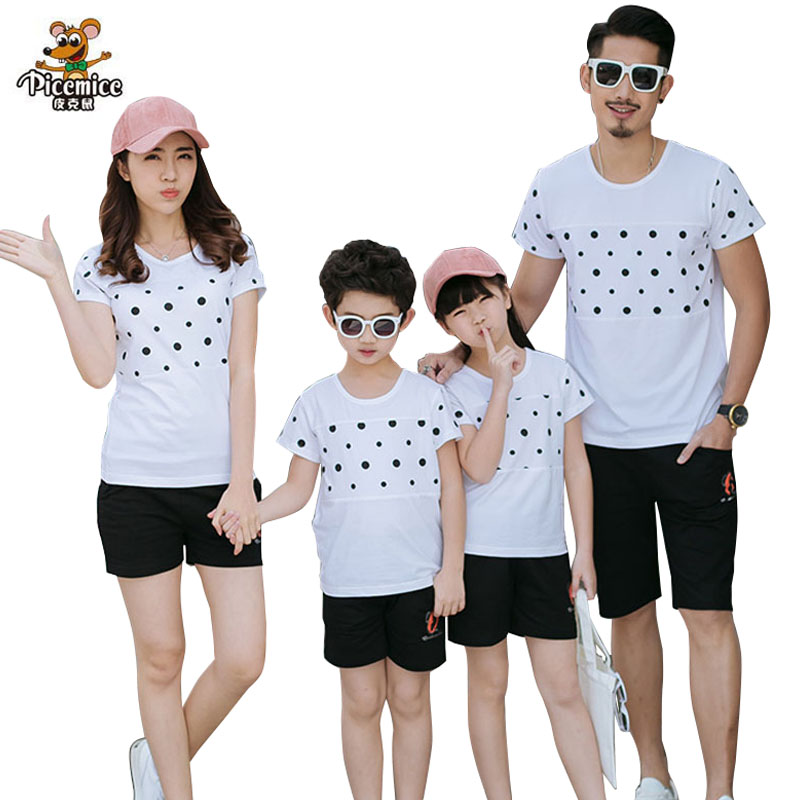 2018 Summer Clothing Family Look Father Boy Mother Daughter Cotton Shirts Shorts Pants set Plus سایز Matching Family Clothes