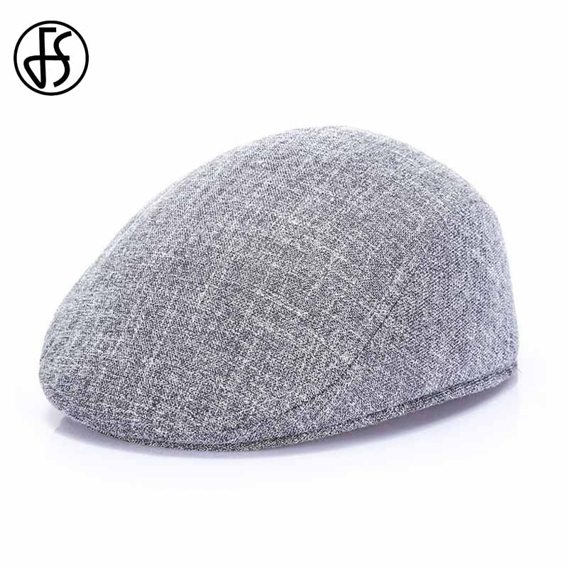 FS Gray Brown Beret Caps Fashion Curved Brim Hats Spring Summer Outdoor Sun Breathable Mens Black Berets Cap