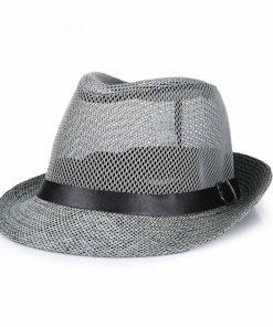 FS Men Summer Casual Beach Linen Hats Gray Black Brown Panama Straw Male Trilby Fashion Sun Visor Breathability Caps 1