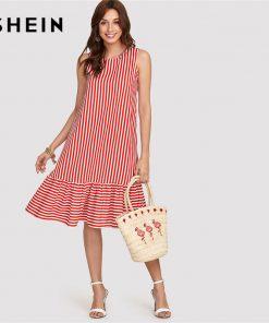SHEIN Red Pinstripe Ruffle Swing Dress Women Ruffle Round Neck Sleeveless Drop دور کمر Loose Dress 2018 Summer Vacation Dress