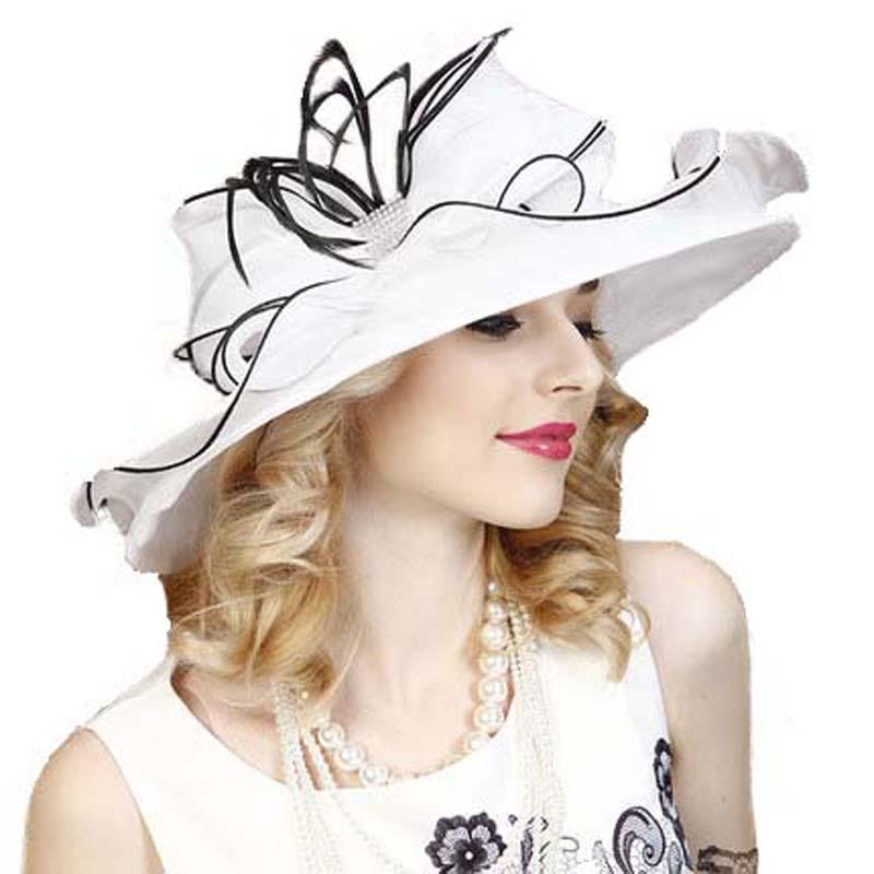 FS Organza Hat For Women White Summer Elegant Wedding Dress Fedoras Large Wide Brim Bow Flat Top Derby Hats Party Church Caps 1