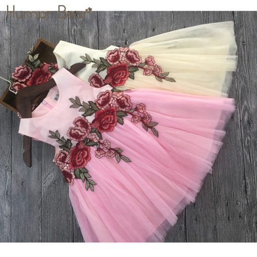 Humor Bear Girls Dresses 2018 Summer Style Girls Clothes Sleeveless Embroidery Design for Child kids Princess Dress 4