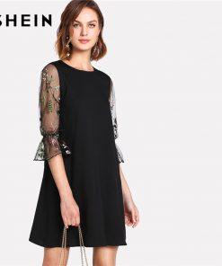 SHEIN Botanical Black Embroidery Mesh Dress Women Round Neck Flare آستین Casual Dress 2018 Spring 3/4 آستین Short Dress