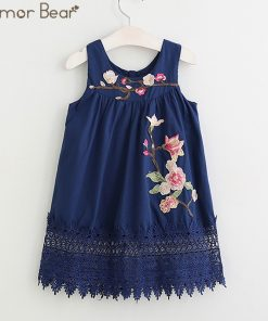 Humor Bear Girls Dresses 2017 Summer Style Girls Clothes Sleeveless Cute Embroidery Design for Child kids Princess Dress 1
