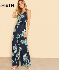 SHEIN Tropical Print Wide Leg Cami Jumpsuit 2018 Women V Neck Spaghetti Strap Sleeveless High دور کمر Belted Vacation Jumpsuit