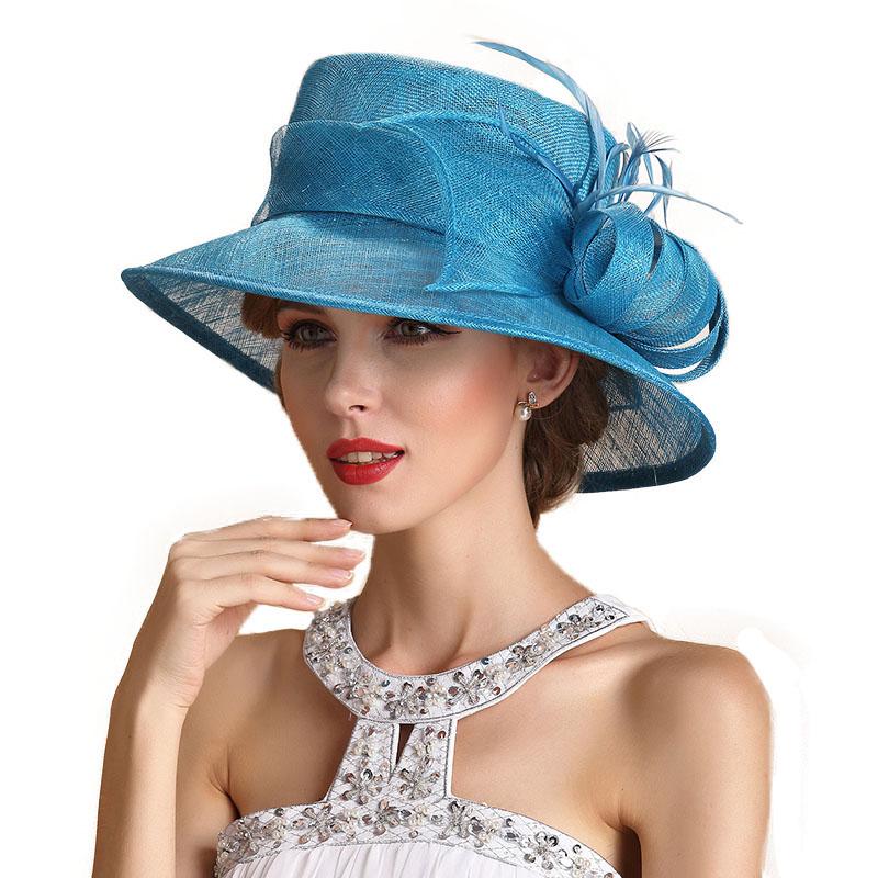 FS Summer Sky Blue Wedding Hats For Women Elegant Floral Linen Kentucky Derby Wide Brim Party Hat Chapeau Mariage 1