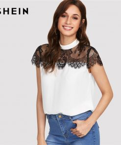 SHEIN Lace Yoke Keyhole Back Top Women Patchwork Stand Collar Short آستین Button Casual Blouse 2018 Summer Elegant Blouse