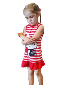 COSPOT Girls Hello Kitty Dress Baby Girl Clothes Summer Sleeveless Dresses Girls Dress Clothes Striped Red Pink 2018 New 50E 1