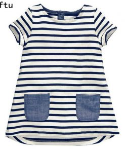 Softu 1-6 Years Baby Girls Short آستین Blue Stripe Summer Dress Cotton Casual Dresses Long Tops Kids Clothing