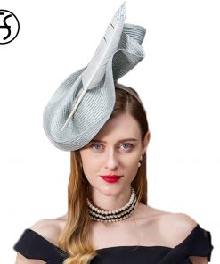 FS Fascinators Patchwork Pillbox Hat For Weddings Dress Women Vintage Fedora Ladies Elegant Feather Sinamay Base Bridal Hats