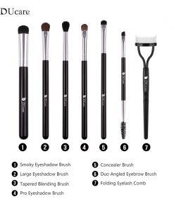 DUcare 7 PCS Makeup Brushes Eyeshadow Brush Set Foldable Eyelash Comb Eyebrow Cosmetics Tools Kit 1