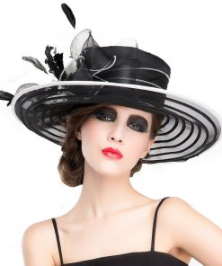 FS Royal Wedding Hats For Woman Black Large Wide Brim Church Fedora Hat British Bowkot Feather Ladies Kentucky Derby Hats Summer 1