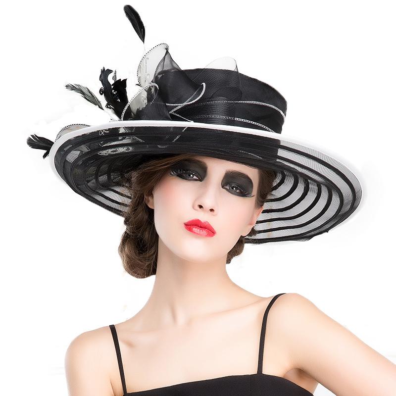 FS Royal Wedding Hats For Woman Black Large Wide Brim Church Fedora Hat British Bowkot Feather Ladies Kentucky Derby Hats Summer 1