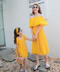 Mother Daughter Dresses Clothes Baby Girls Summer Clothes Family Matching Outfits Ruffles Off Shoulder Mom Baby Dress Pajamas 1