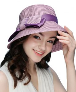 FS 2018 New Summer Fashionable Straw Hat For Women Wide Brim Floppy Sun UV Beach Hats Pink Foldable Sombreros 1