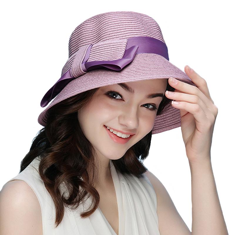 FS 2018 New Summer Fashionable Straw Hat For Women Wide Brim Floppy Sun UV Beach Hats Pink Foldable Sombreros 1