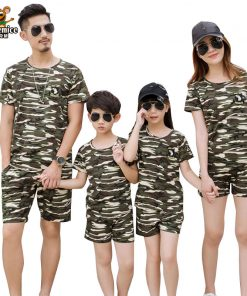 Family Clothing Camouflage Print Shirt Shorts Family Matching Outfits Father Son Baby Boy mother daughter Clothes Set