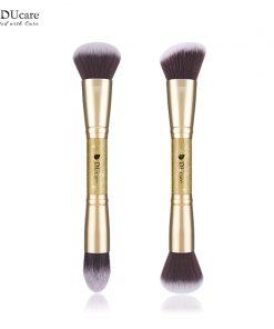 DUcare 2 PCS Double-ended Makeup Brushes Foundation Powder Contour Brush Face Make Up Brush Cosmetic Tools Kit