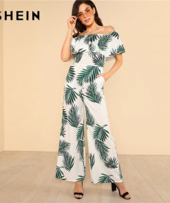 SHEIN Tropical Print Flounce Off Shoulder Wide Leg Jumpsuit 2018 Women Short آستین High دور کمر Zipper Pocket Vacation Jumpsuit