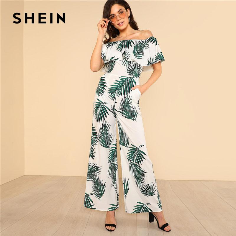 SHEIN Tropical Print Flounce Off Shoulder Wide Leg Jumpsuit 2018 Women Short آستین High دور کمر Zipper Pocket Vacation Jumpsuit