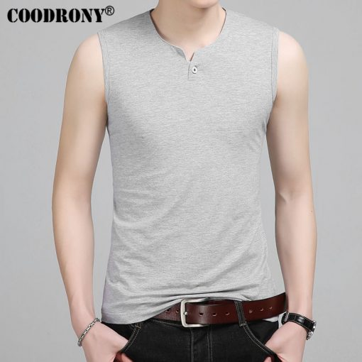 COODRONY Slim Fit Tank Top Men Sleeveless T Shirt Men 2017 Spring Summer New Arrival Cotton T-Shirts Button Henry Collar T S7652 3