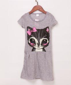Cute Cat Lovely Toddler Baby Girls Princess Short آستین Dress Party Kids Tulle Tutu Dress Summer Girl Dress Children Clothing
