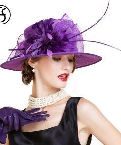 FS Elegant Ladies Red Wedding Hats And Fascinators Summer Linen Church Fedora Feather Flower Women Wide Brim Kentucky Derby Hat