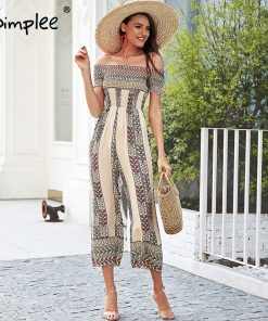 Simplee Off عرض شانه ethnic print jumpsuit romper women Smocking wide leg jumpsuit summer Streetwear casual jumpsuit macacao
