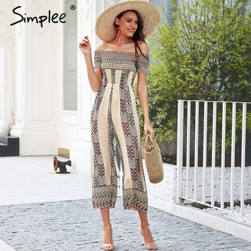 Simplee Off عرض شانه ethnic print jumpsuit romper women Smocking wide leg jumpsuit summer Streetwear casual jumpsuit macacao