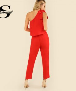Sheinside Red Tied One Shoulder Jumpsuit Ruffle Embellished Sleeveless Office Ladies Workwear Women Summer Elegant Jumpsuit 1
