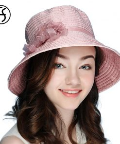 2018 Summer Beach Anti UV Hat Casual Cotton Floppy Hats Bucket Wide Brim Foldable Sun Cap Pink Brown Pink