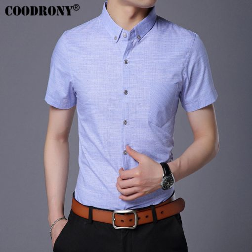 COODRONY Pure Cotton Casual Shirt Men Brand Clothing 2017 Summer New Arrival Solid Color Short Sleeve Slim Fit Shirt Homme S7702