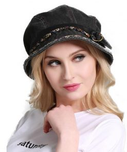 FS Vintage Woman Summer Foldable Sun Hat Gray Black Water Wash Old Cloth Cap Cotton Outdoor Wide Brim Uv Protect Hats With Belt 1