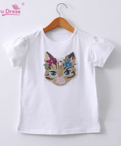 Summer Funny Cat Sequin T-shirt Girls Casual Cotton O-neck Tee Tops Kids T Shirt Clothing Boys Cotton T shirts 2-12y