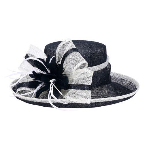 FS Fascinator Black Large Wide Brim Linen Fedora Vintage Floral Hat Summer Womens Church Kentucky Derby Hats 3