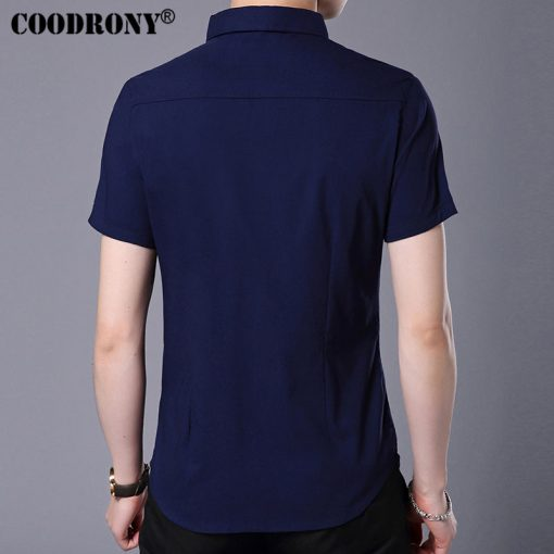 COODRONY 2017 Spring Summer New Business Casual Short Sleeve Shirt With Pocket Pure Cotton Shirt Men Slim Fit Chemise Male S7709 5