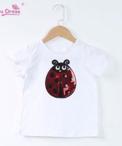 Summer Short Sleeves Boys Tops Teen Clothes Kids Shirts Kids Ladybug Girl Cartoon T-shirt For Girl Tees
