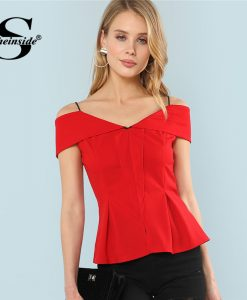 Sheinside Red Ruffle Cold Shoulder Elegant Peplum Top Plain Spaghetti Strap Cap Sleeve Blouse Summer Ladies Slim Fit Blouse