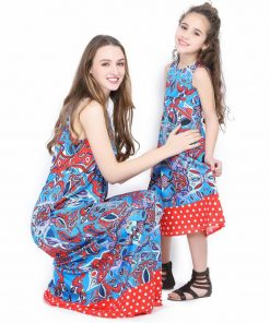 mother daughter dresses Vintage style mother and dauther matching clothes mommy and me family matching outfits summer printing