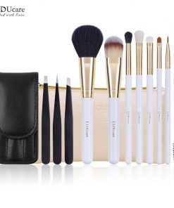 DUcare 8 PCS Brushes for Makeup and 3 PCS Eyebrow Tweezers  Hair Removal Goat Hair Cosmetic Tools Kit 1