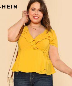 SHEIN Yellow Plus سایز Ruffle V Neck Wrap Top Blouse Women Clothings Summer Top Large سایز Elegant Slim Solid Plain Blouse