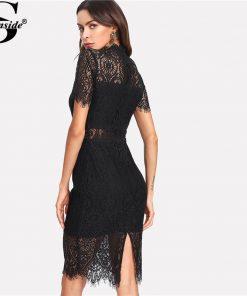 Sheinside 2018 Party Dress Black Stand Collar Short Sleeve Plain Eyelash Lace Dress Women Elegant Scallop Trim Midi Dress 1